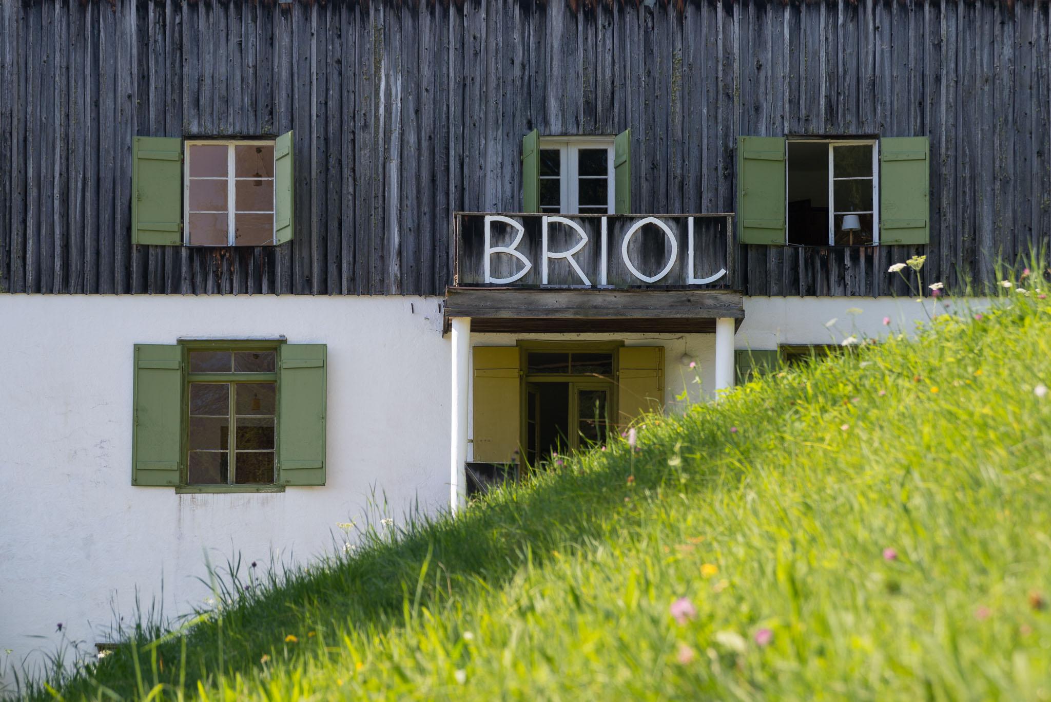 Grüne Bergwiese vorm Seiteneingang von Briol